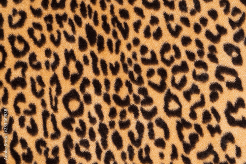 Poster Luipaard Faux fur leopard texture background. Fashionable modern ecological material.
