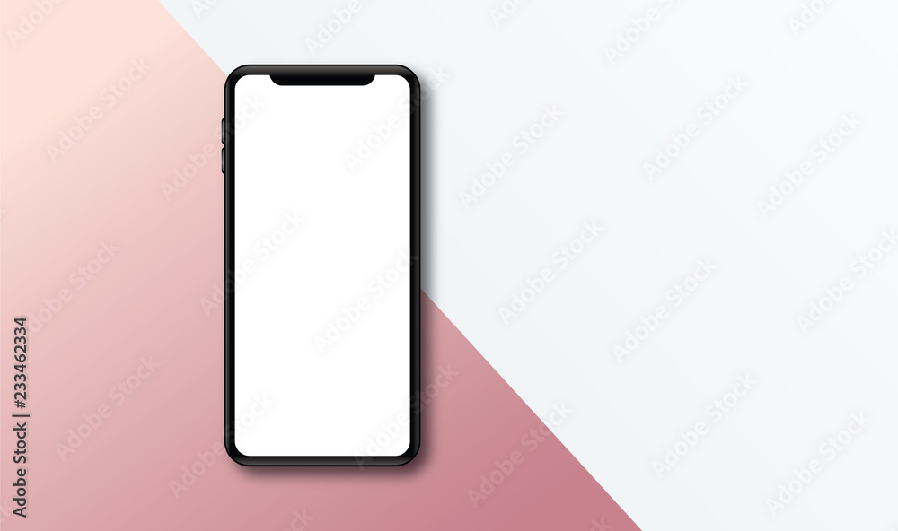 Fototapeta Modern frameless smartphone Mock up with blank white screen.