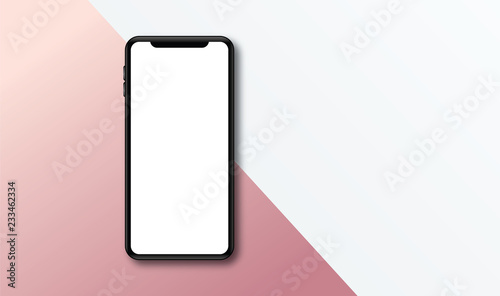 Foto  Modern frameless smartphone Mock up with blank white screen.