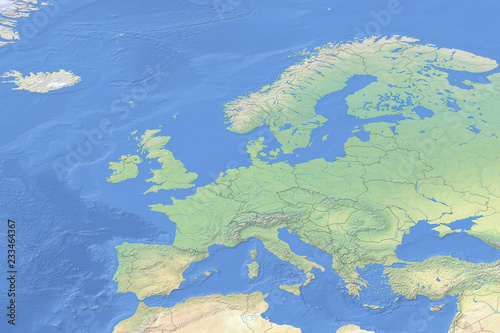 Physical Map Of Countries In Europe Detailed Topography Based On