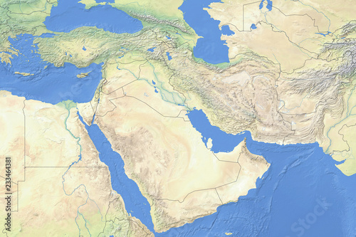 Physical map of countries in the Middle East - detailed topography based on WGS84 coordinate system