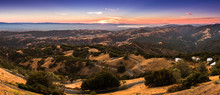 Sunset View Of The Surrounding Hills And Valleys From The Top Of Mount Hamilton, San Jose, California