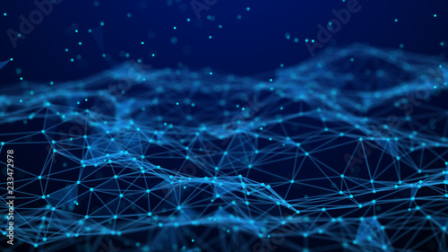 Fotobehang Fractal waves Abstract technology background. Network connection. Artificial intelligence. Science background. Big data digital background. 4k rendering.