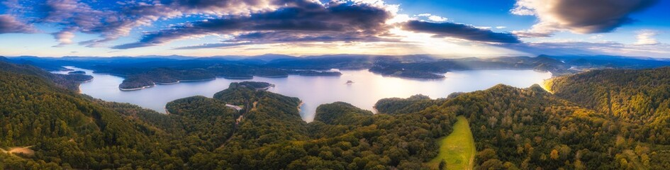 Beautiful sunset over Solina lake in Bieszczady Mountains