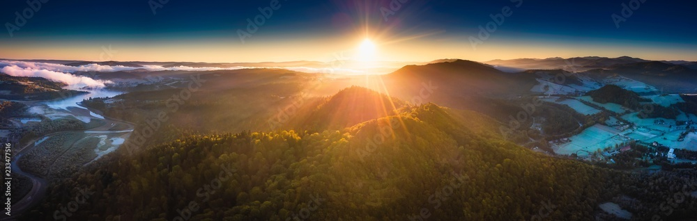 Fototapety, obrazy: Sunrise over Bieszczady Mountains in Poland. Aerial panoramic landscape.