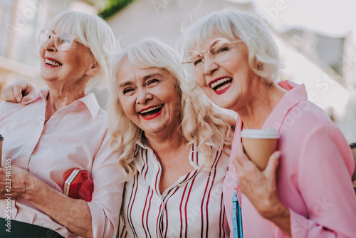 Waist up portrait of three positive older women joking and having fun together Canvas Print