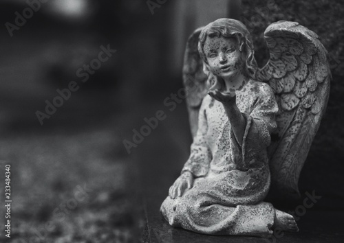 Fotografie, Obraz  Black and white image of an angel statue in a cemetery.