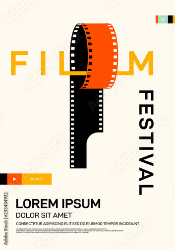 Photo  Movie and film poster design template background modern vintage retro style
