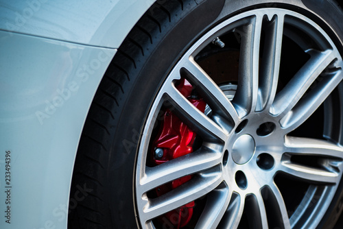 Automotive Alloy Wheels with tire and disk brake pad cover. Canvas Print