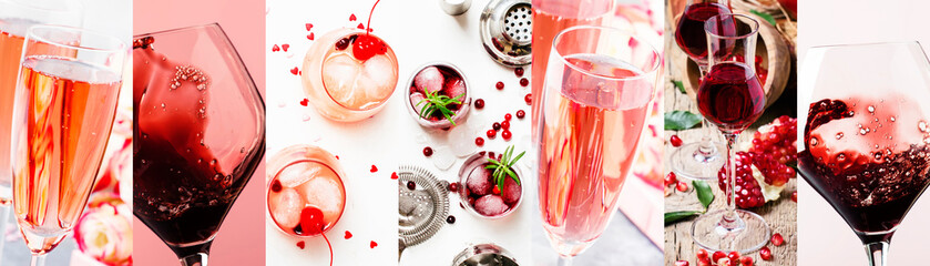 Panel Szklany Podświetlane Do restauracji Red and pink alcoholic beverages, wine, champagne and liqueurs, berry and fruit cocktails. Photo collage