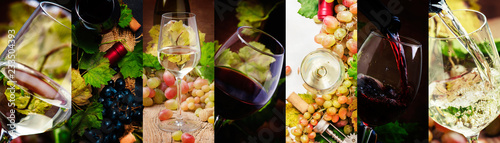 Fototapeta Red and white wine, alcohol collection in glasses. Wine tasting. Rustic style. Photo collage obraz