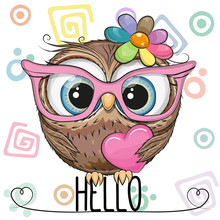 Cute Owl In A Pink Glasses Wit...