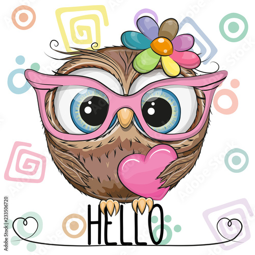 Keuken foto achterwand Uilen cartoon Cute Owl in a pink glasses with heart