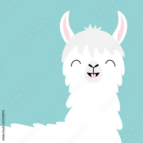 llama alpaca head face tooth smile cute cartoon funny kawaii