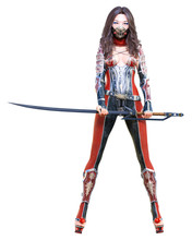 3D Sexy Japanese Assassin Woman In Mask And Sword. Llustration. Conceptual Fashion Art. Seductive Candid Pose. Isolated.