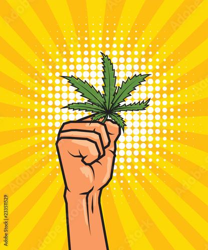 Fotobehang Pop Art Fist held high hold on cannabis leaf.