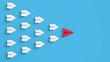 Leinwanddruck Bild - Papierflieger in Formation als Anführer und Team Konzept