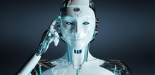 White Woman Cyborg Thinking And Touching Her Head 3D Rendering