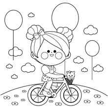 Girl On A Bicycle At The Park....