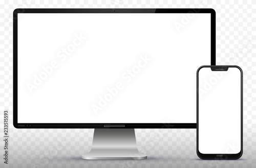 Photo  Computer Screen and Smart Phone Vector Illustration.