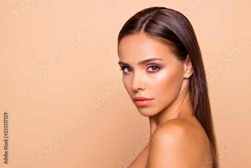 Obraz Half turn portrait charming adorable good-looking attractive gor - fototapety do salonu