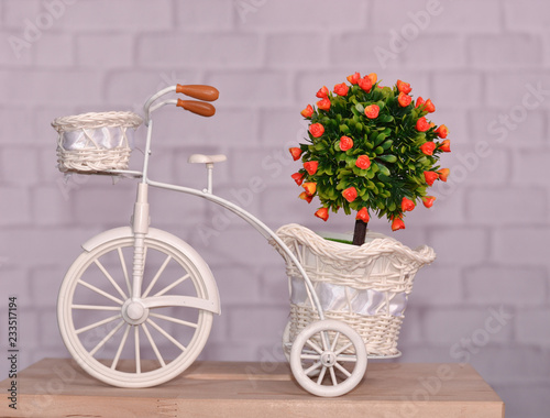 Aluminium Prints Bicycle bicycle with flowers