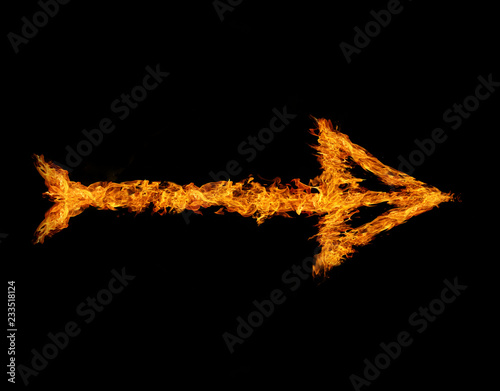 Flaming arrow grow up isolated on black background Canvas Print