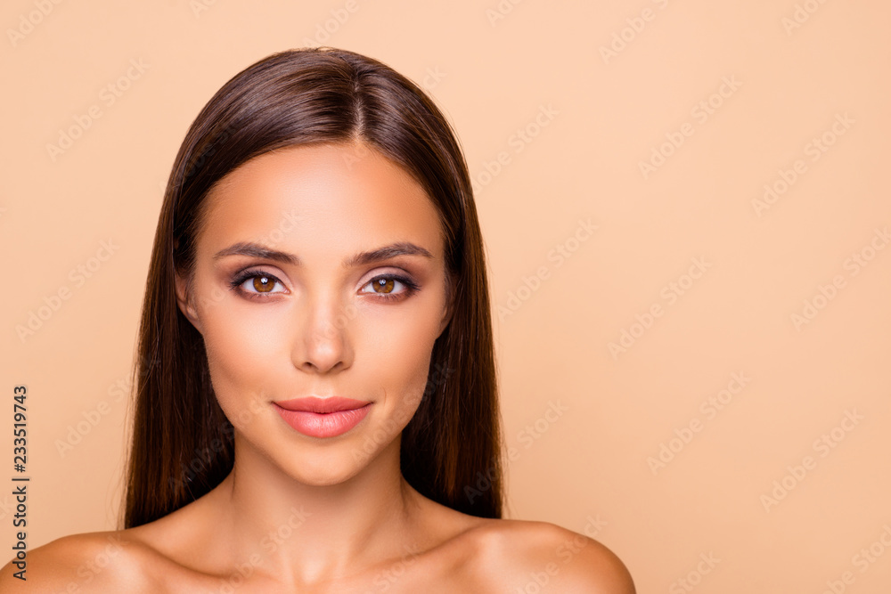 Fototapety, obrazy: Close up photo of gorgeous good-looking adorable brunette hair l