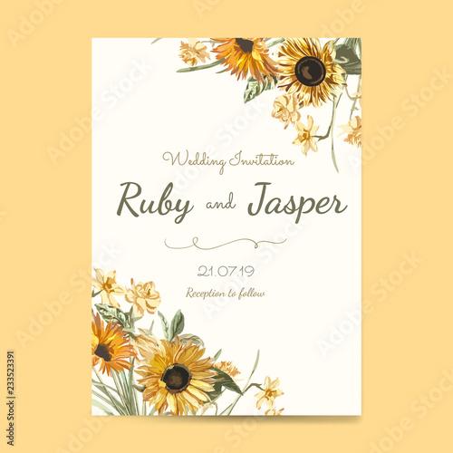 Fotografie, Obraz Wedding invitation card mockup vector