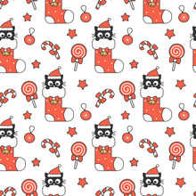 Cute Cartoon Black Baby Cat In Christmas Gift Sock And Holiday Elements Seamless Vector Pattern Background Illustration