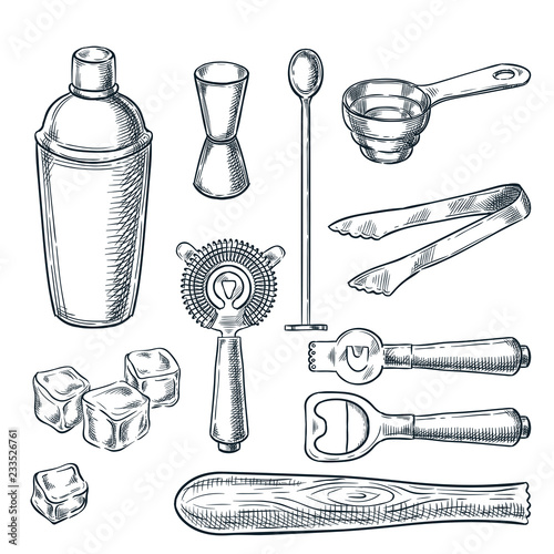 Canvas Print Cocktail bar tools and equipment vector sketch illustration