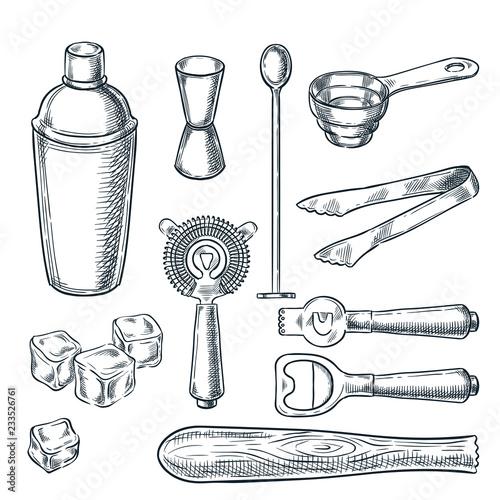 Cocktail bar tools and equipment vector sketch illustration Wallpaper Mural
