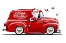Cartoon Retro Christmas Van Wi...