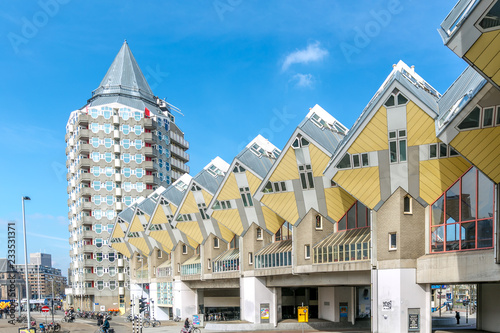 Photo Cube houses designed by Piet Blom in Rotterdam; Netherlands.