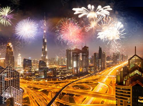 Fotografie, Obraz  fireworks around Burj Khalifa - exotic New Year destination, Dubai, UAE