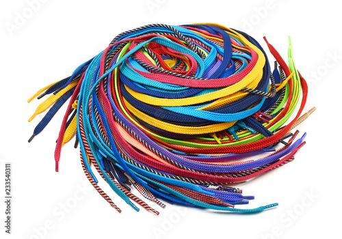Multi-colored shoe laces Tableau sur Toile