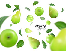 Vector Falling Green Apples And Pears Isolated On White Background. The Fruit As A Whole. Realistic Objects, 3D