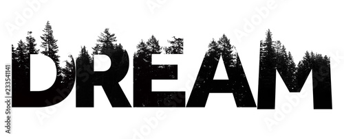 Dream word made from outdoor wilderness treetop lettering Wallpaper Mural