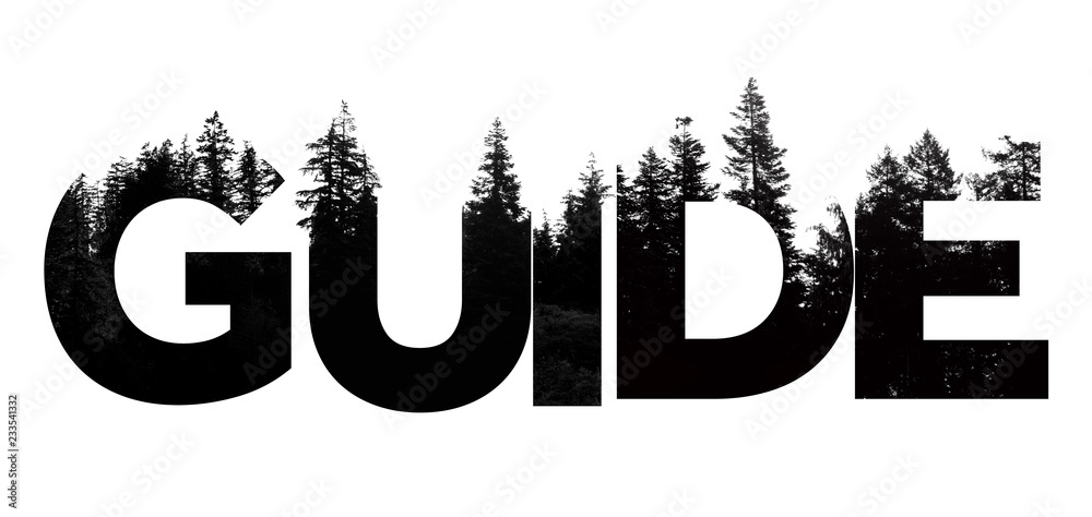 Fototapety, obrazy: Guide word made from outdoor wilderness treetop lettering