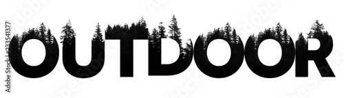 Foto Outdoor word made from outdoor wilderness treetop lettering