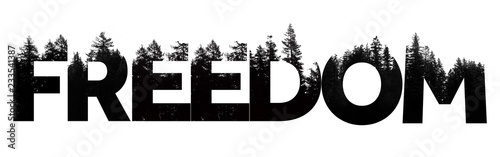 Fotografie, Obraz Freedom word made from outdoor wilderness treetop lettering