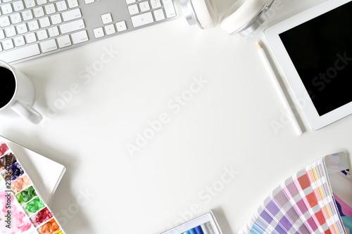 Tablou Canvas Artist designer white desk workspace with colour and supplies