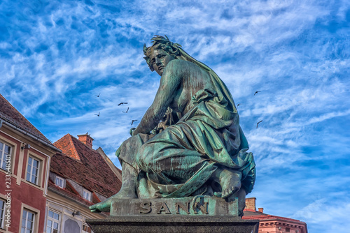 Fotografia, Obraz  Archduke Johann Fountain, allegorical representation of the river Sann, Hauptpla