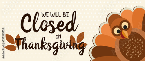 Fotografía  We will be closed on thanksgiving card or background