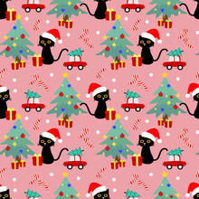 Cute Cat And Christmas Seamless Pattern.