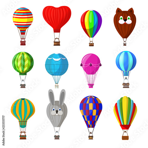 Fotografiet Balloon vector cartoon air-balloon or aerostat with basket flying in sky and bal