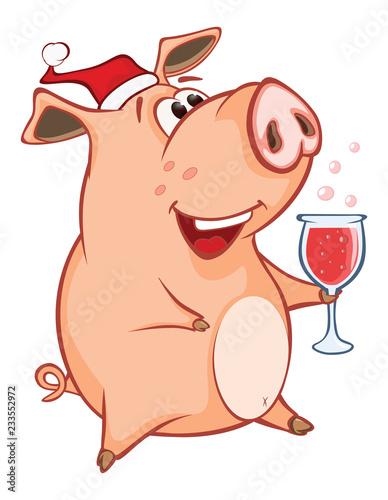 Tuinposter Babykamer Vector Illustration of a Cute Pig. Cartoon Character