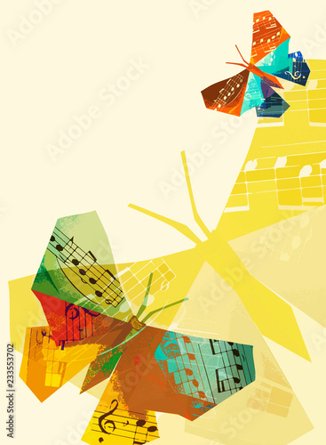 Carta da parati Origami butterfly with musical notes