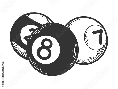 Obraz na plátně Billiard pool balls ivories engraving vector illustration