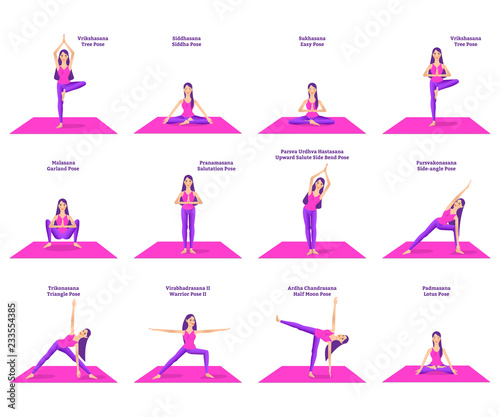 Set Of Woman Doing Different Yoga Poses Standing On Pink Mat Names Of Postures Buy This Stock Vector And Explore Similar Vectors At Adobe Stock Adobe Stock